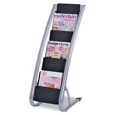 Alba DDEXPO6 13 1/3 x 19 2/3 x 36 2/3 Silver Gray/Black Literature Floor Rack Six Pocket by Alba