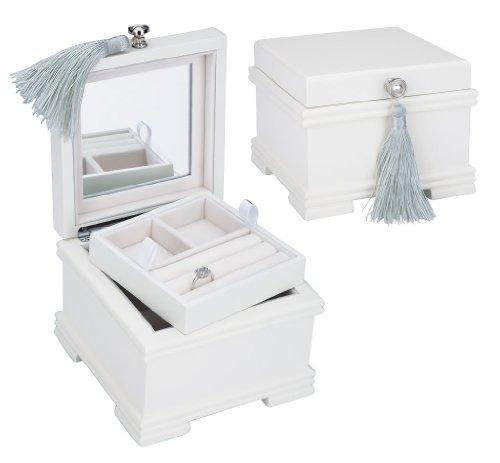 "Reed & Barton ""Emma Jewelry Box, White Finish/Soft Pink Flocked Interior"