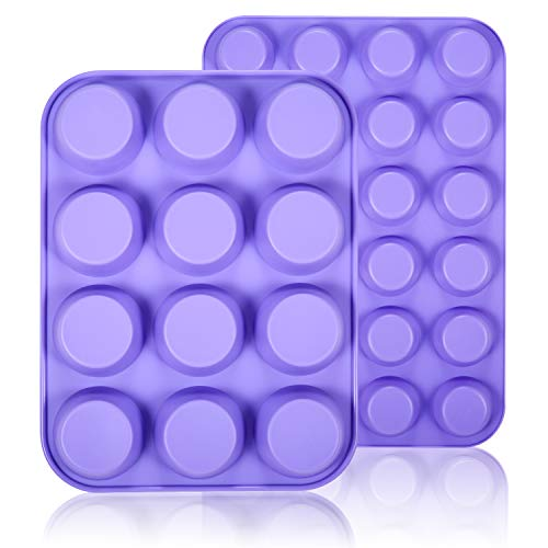 (WARMWIND Silicone Muffin Pans, Non-Stick Cupcake Mold Including Mini 24 Cups, 12 Regular Cups, BPA Free Silicone Bakeware Tray, Dishwasher Safe (2 Pack, Purple))