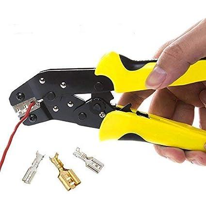 HANSHI Alicate de terminales de cable con función de trinquete para aislado Conector.Multifunción de