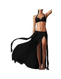 Angel Legend Women's Sexy Transparent Strench Bikini Sets Cover Up Long Beach Skirt