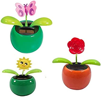 3 1//2 inches New Solar  Powered Dancing ~ Mini Daisy Pink Pot FREE SHIPPING