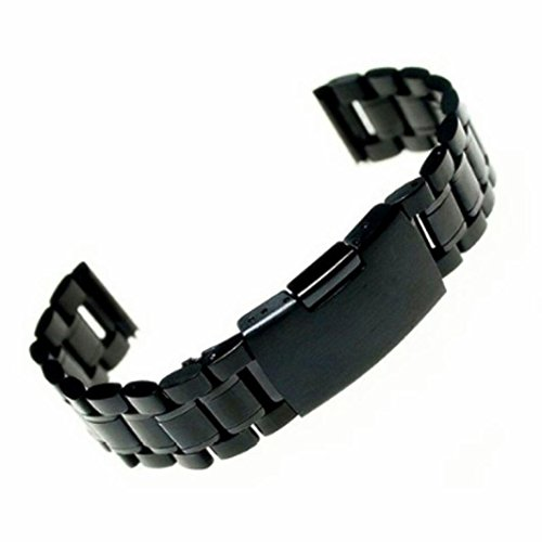 BETTERUU Black Stainless Steel Strap Stainless Steel Bracelet Watch Band Strap Straight End Solid Links Flat 18mm 20mm 22mm (Black, (Famous Look Automatic Watch)