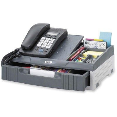 Safco 2204CH Telephone Organizer Stand 1 Drawer 14 3/4 x 10 1/2 x 4 1/4 Gray by Safco