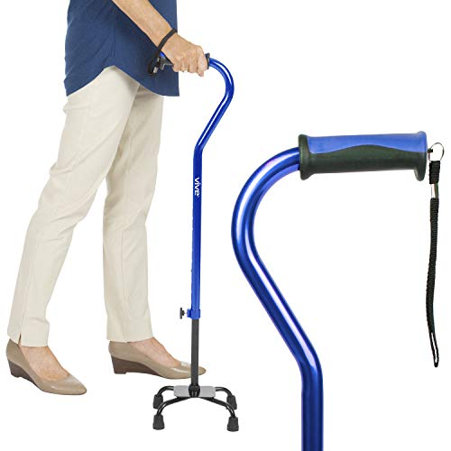 Vive Quad Cane - Walking Stick for Men and Women - Lightweight Adjustable Staff - Comfortable Right and Left Hand Grip for Stability Support -...