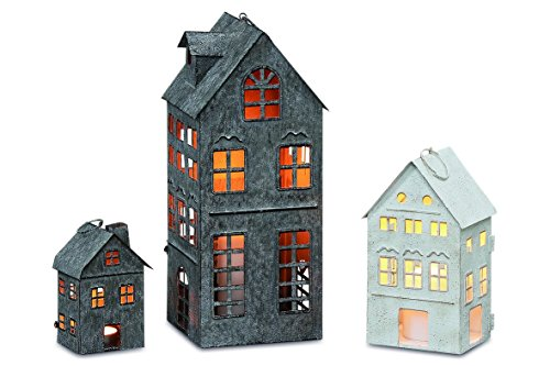 Americana Main Street Town House Candle Lanterns, Set of 3, Vintage Style, Weathered White and Rustic Gray, Metal, Hinged Doors, 14 1/2, 8 3/4 and 5 1/8 Inches Tall