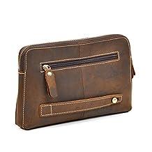 Men's Genuine Leather Zip Around Clutch Wallet Brown Cow leather IPad Mini Handbag