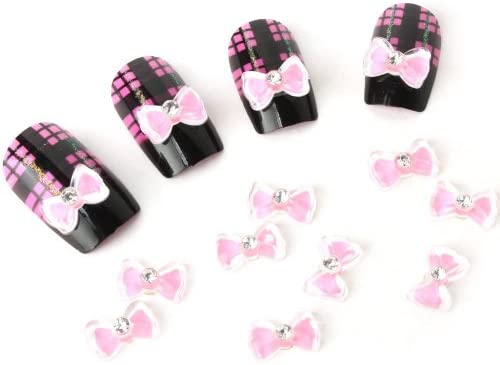 Davidsonne 20pcs 3D acrílico corbata de moño Tips Nail Art ...