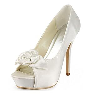 Frommk sandals Women's Platform Peep Toe Satin Bridal Wedding Evening Formal Party Sandals White-13cm Heel6 B(M) US