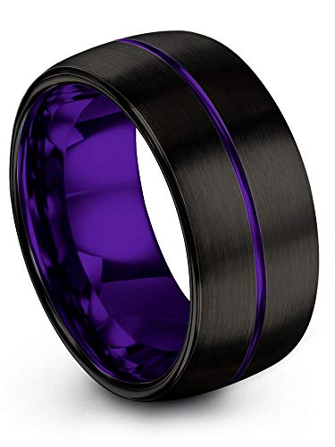 Satin 10 Mm Ring - Chroma Color Collection Tungsten Carbide Wedding Band Ring 10mm for Men Women Purple Interior with Purple Center Line Dome Black Brushed Polished Comfort Fit Anniversary Size 12