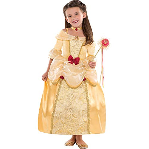 Costumes USA Belle Costume Supreme for Girls, Size Small, Includes a Gold Brocade Dress and a Matching Choker Necklace -
