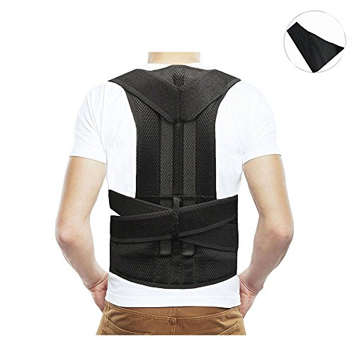 Adjustable Posture Corrector Upper Back & Shoulder Support Brace, Best Posture Brace Back Corrector for Women & Men (Black) (XXL) by ZSZBACE