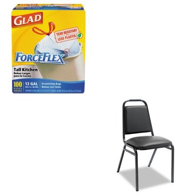 KITALESC68VY10BCOX70427 - Value Kit - Best Upholstered Stacking Chairs w/Square Back (ALESC68VY10B) and Glad ForceFlex Tall-Kitchen Drawstring Bags (COX70427)
