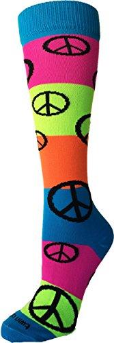 Neon Rainbow Fun Print OTC Socks (Peace Sign, Medium)