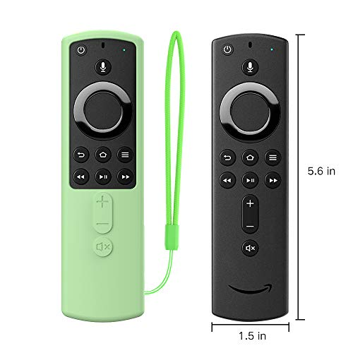 SIKAI Remote Case for 5.6 inch Fire TV Stick 4K Remote Skin-Friendly Shockproof Silicone Cover Compatible with Fire TV Stick 4K All-New Alexa Voice Remote Anti-Lost with Loop (Glow in Dark Green)