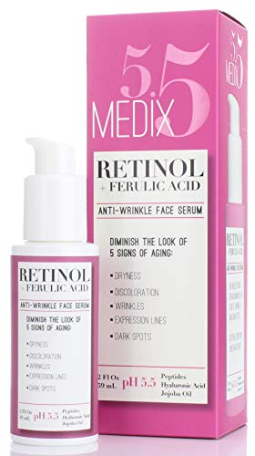 - Medix 5.5 Retinol Serum for Wrinkles, Expression Lines, Dark Spots, and dry skin. 2oz Anti-aging face serum with Ferulic Acid, Hyaluronic Acid, Jojoba Oil, and peptides. Large 2FL Oz with a pump