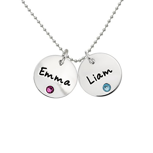 Birthstone Double Charm - AJ's Collection Personalized Sterling Silver Double Round Name Charm Necklace with Choice of Swarovski Birthstone Settings