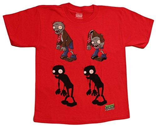Plants vs Zombies Boys' 4 Zombie Tee, Red (XL(18))]()