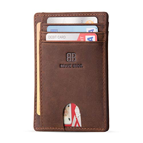 BRAVE BROS - Slim Genuine Leather RFID Blocking Minimalist Front Pocket Wallets & Card Holders for Men & Women (Crazy Horse Coffee)