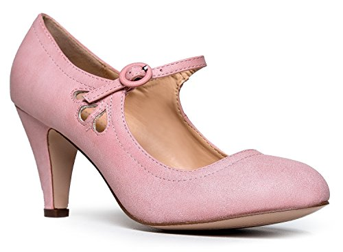 Kitten Heels Mary Jane Pumps By Zooshoo- Adorable Vintage Shoes- Unique Round Toe Design With An Adjustable Strap,Rose Pink,8.5 B(M) US ()