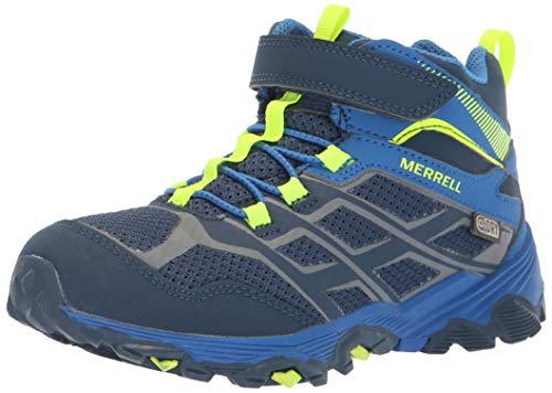 (Merrell Boys' Moab FST Mid A/C WTRPF Hiking Shoe, Navy/Cobalt, 5 Medium US Big Kid)