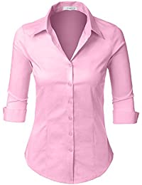 Womens Roll Up 3 4 Sleeve Button Down Shirt with Stretch 41bfdcd5b