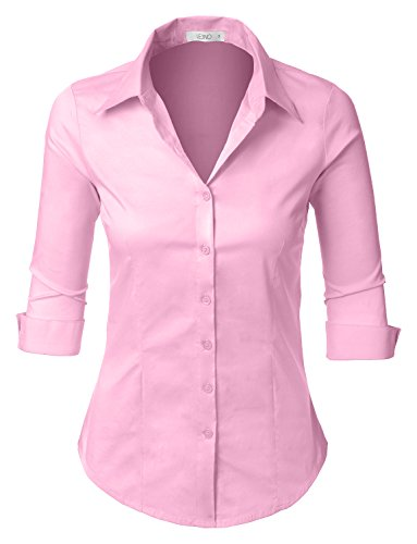 LE3NO Womens Roll Up 3/4 Sleeve Button Down Shirt with Stretch, L3NWT574A_BABYPINK, Small
