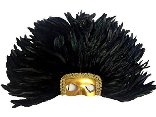 (Large Carnival Costume Feather Headdress - Black Halloween Mask Cosplay Party Hair)