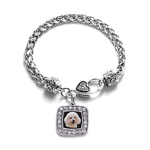 Inspired Silver - The Poodle Braided Bracelet for Women - Silver Square Charm Bracelet with Cubic Zirconia Jewelry