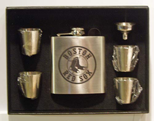 (Boston Red Sox 2018 World Series Champions 6 oz stainless steel flask with 4 shot glasses and a funnel in a black presentation box)