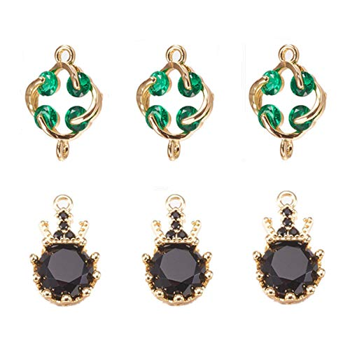 - 6 Pcs Lucky Flower Pendant Crown Charm Pendant Enamel Sequins Dangle Gold Plated Dainty Ornament for Necklace Bracelet Ankle Jewelry DIY Making