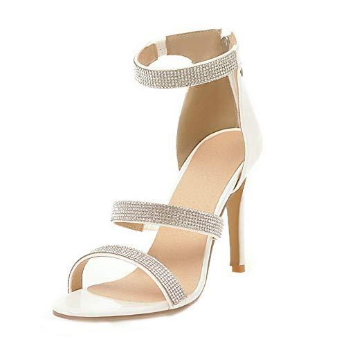 VogueZone009 Women Zipper Pu High-Heels Open-Toe Zipper Sandals,CCALP014607 White
