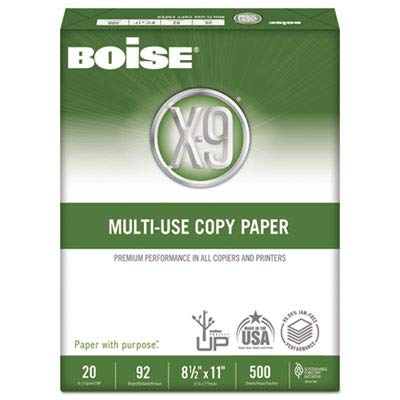 Boise Products - Boise - X-9 Copy Paper, 92 Brightness, 20lb, 8-1/2 x11, White, 2500 Sheets/Carton - Sold As 1 Carton - Boise's #1 multi-use paper compatible with all office equipment. - Hard-working paper has a brighter appearance and substantial feel. - Trusted performance for your most demanding office needs. - Excellent for everyday general business copying and printing. - Acid-free for archival quality.
