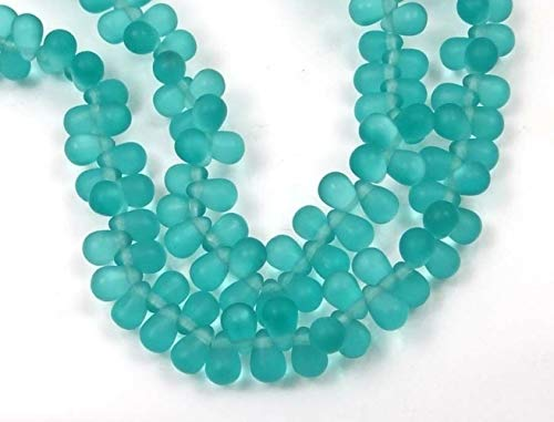 50 Pcs Czech Frosted Sea Glass Teardrop Beads Matte Teal Pendant Necklace Jewelry Making Supplies Craft DIY Kit