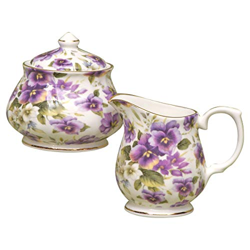 English Tea Store Pansy Chintz Fine Bone China Sugar And Creamer Set Covered Sugar (Fine China Covered Sugar Bowl)