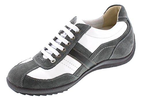 Toto - A6635 - 2,8 Inch Groter - In Hoogte Toenemende Liftschoenen (witte En Grijze Casual Schoenen)