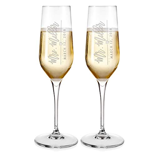 (Set of 2 Wedding Glasses for Bride & Groom Mr and Mrs Champagne Flutes Free Engraving with Names&Date - Personalized Wedding Champagne Flutes | Customized Toasting Glasses #D16)