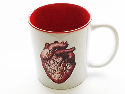 red Anatomical Heart Mug 11 oz. human anatomy cardiologist medical office graduation gift -