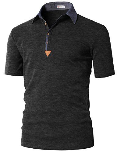 - H2H Mens Dry Victory Stripe Polo Charcoal US 2XL/Asia 3XL (KMTTS0553)