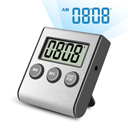 Stainless Steel Back Game - Digital Kitchen Timer,Super Strong Magnetic Back,Stainless Steel Shell,Large Display,Loud Alarm,Professional Minute Second Count Up and Countdown Timers for Cooking Sports Games.