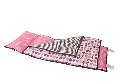 Bacati Elephants Nap Mat Bedding Set, Pink/Grey