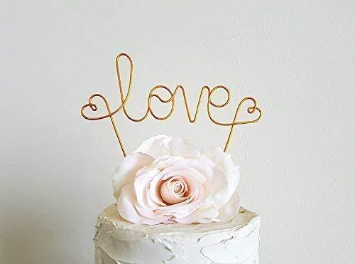LOVE Wedding Cake Topper Banner in Gold Finish