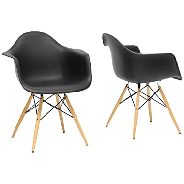 Baxton Studio Pascal Plastic Mid-Century Modern Shell Chair, Black, Set of 2