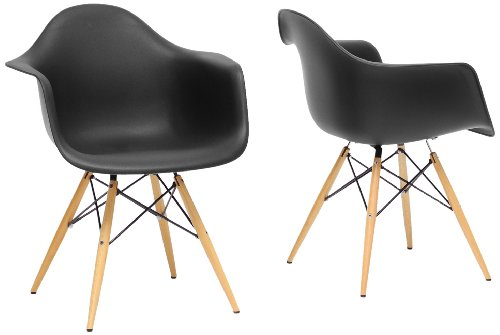 Pleasant Baxton Studio Pascal Plastic Mid Century Modern Shell Chair Black Set Of 2 Caraccident5 Cool Chair Designs And Ideas Caraccident5Info