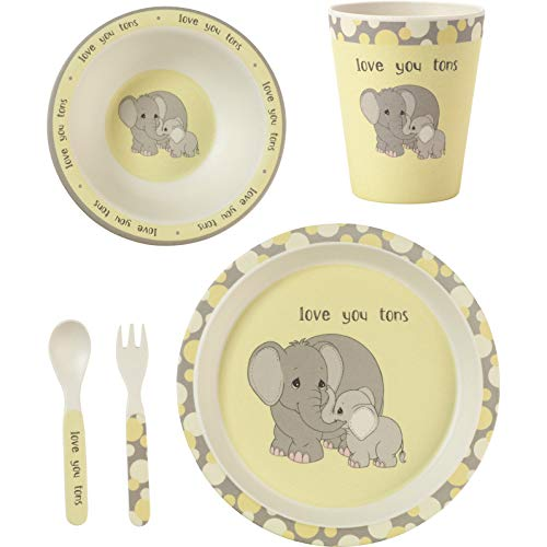 (Precious Moments 182418 5 Elephant Gift Mealtime Feeding Set, One Size, Multi )