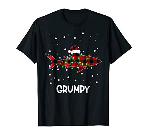 GRUMPY Shark Plaid Pajamas Santa Hat Cool Ugly -