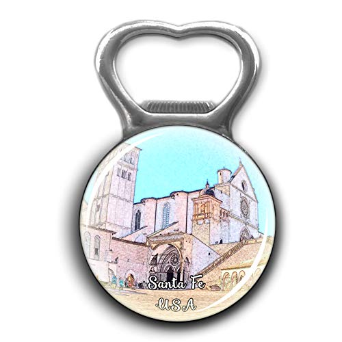 The Cathedral Basilica of St. Francis of Assisi Santa Fe America USA Bottle Opener Metal Fridge Magnet Crystal Glass Round Beer Bottle Opener City Souvenir Home Kitchen Decoration Gifts (Cathedral Basilica Of St Francis Of Assisi)