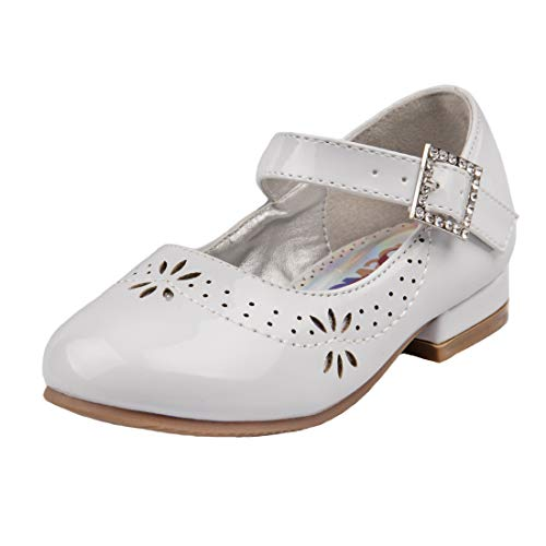 (Josmo Girls Low Heel Mary Jane Ballerina Dress Shoes with Jewel Faux Buckle, White Cut Out, 7 M US Toddler')