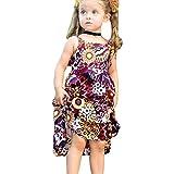 Girls Dress,SuperUS Toddler Kids Baby Girls Summer Solid Ruffle Dress Sleeveless Linen Strap Casual Dresses