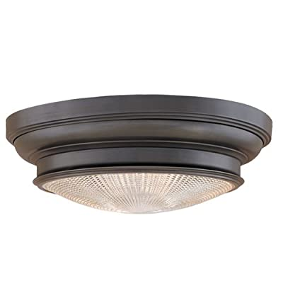 Hudson Valley Lighting Woodstock 2 Light Flush Mount with Clear Prismatic Glass Shade